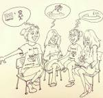 #Fundoodlefriday. The girls being interviewed by Rebecca Clancy of The Telegraph for the Wonder Women section.