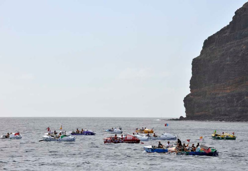La Gomera, Canary Islands. Crews moving away from the mass start to the 2009 Woodvale Atlantic Rowing Race.
